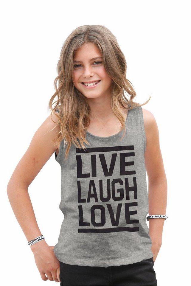 """Arizona Top """"LIVE, LAUGH, LOVE"""", für Mädchen in Grau-Meliert"""