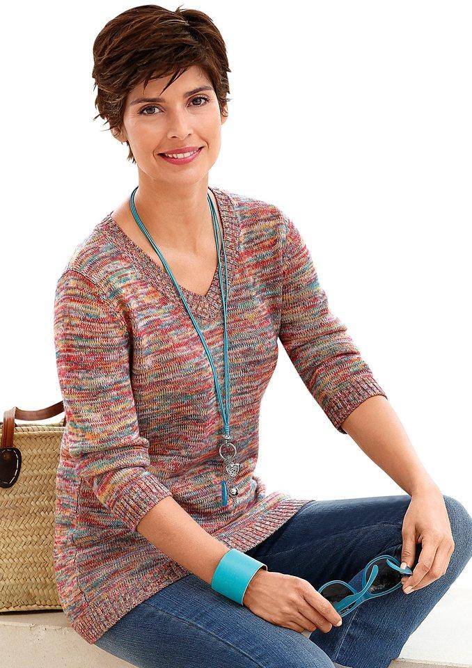 Collection L. Pullover aus effektvollem Melange-Garn in bunt-meliert