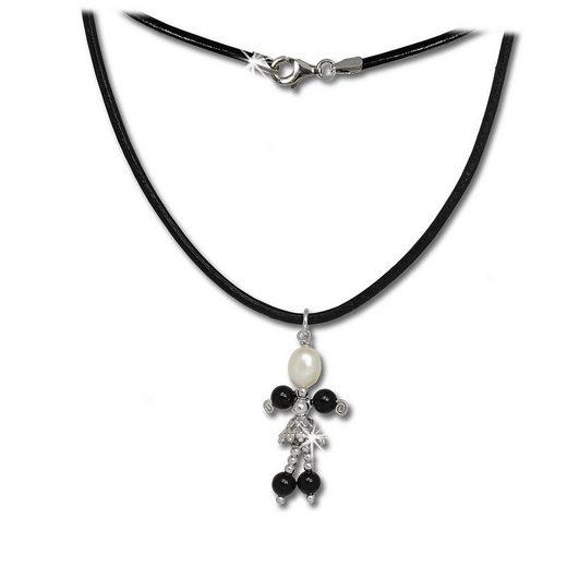 SilberDream Silberkette »SDK100 SilberDream Dancer Halskette weiß schwarz« (Halsketten), Halsketten (Dancer) ca. 45cm, 925 Sterling Silber, Farbe: weiß, schwarz, Made-In Germany