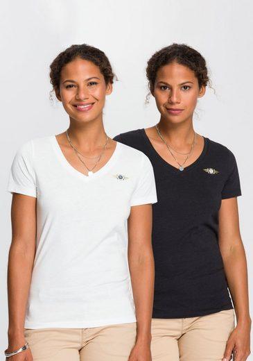 TOM TAILOR Polo Team T-Shirt (Packung, 2-tlg., 2er-Pack) im farblich modischen Doppelpack
