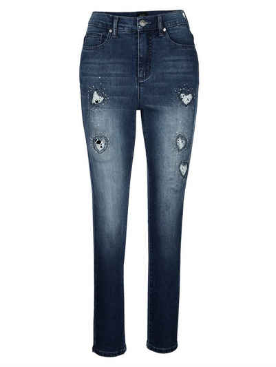 Paola Skinny-fit-Jeans mit Cut-outs in Herzform mit Spitze