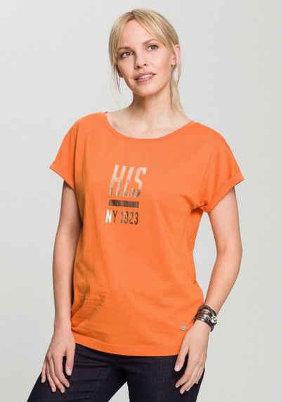 H.I.S T-Shirt mit Foil-LOGO-Print