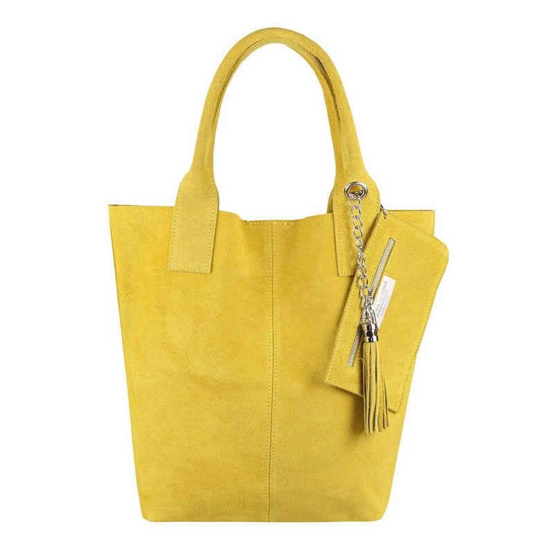 ITALYSHOP24 Schultertasche »Made in Italy Damen Leder Shopper Schultertasche«, ein Leichtgewicht, als Handtasche, Henkeltasche tragbar