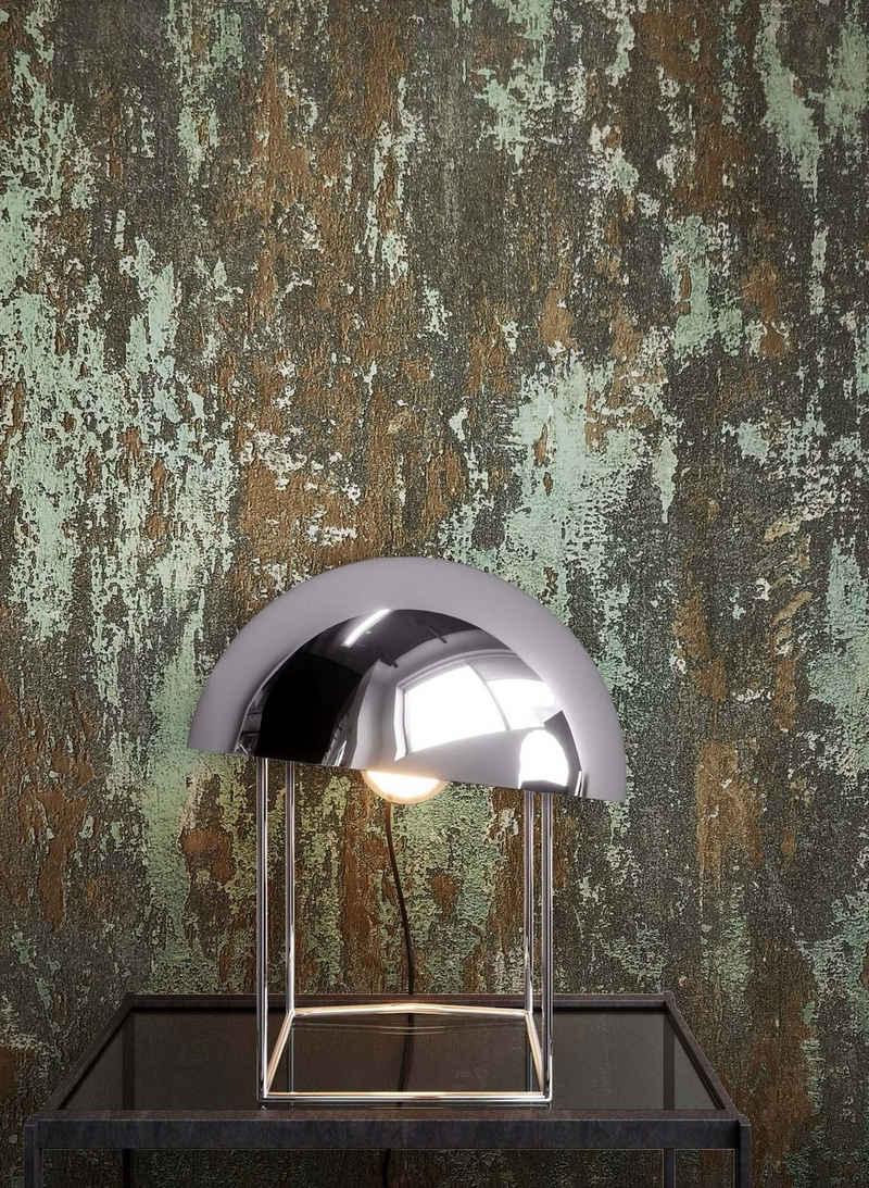 Newroom Vliestapete, Tapete, Grau, Glitzer, Silber Tapete Wohnzimmer Flur Wallpaper Glanz