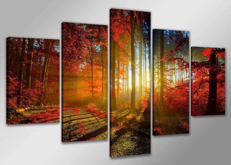 Visario Bild »5 er Set Bild auf Leinwand sofort aufhängbar, fertig gerahmt, 160 x 80 cm«, 5530