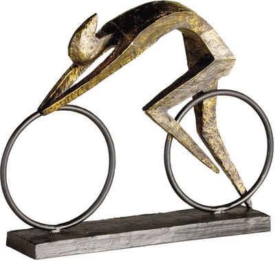 Casablanca by Gilde Dekofigur »Skulptur Racer« (1 Stück), Dekoobjekt, Höhe 29 cm, Fahrradfahrer, mit Spruchanhänger, Wohnzimmer