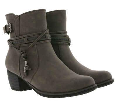 Arizona »ARIZONA Stiefelette elegante Boots Damen Stiefel mit verzierter Fessel Schuhe Grau« Stiefelette