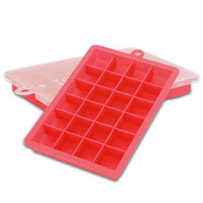 Intirilife Eiswürfelform »Intirilife 2x Eiswürfelformen – 2er Set à 24 Fächer Eiswürfel Silikonformen mit Deckel«, (2-tlg), 2x Eiswürfelformen 2er Set à 24 Fächer