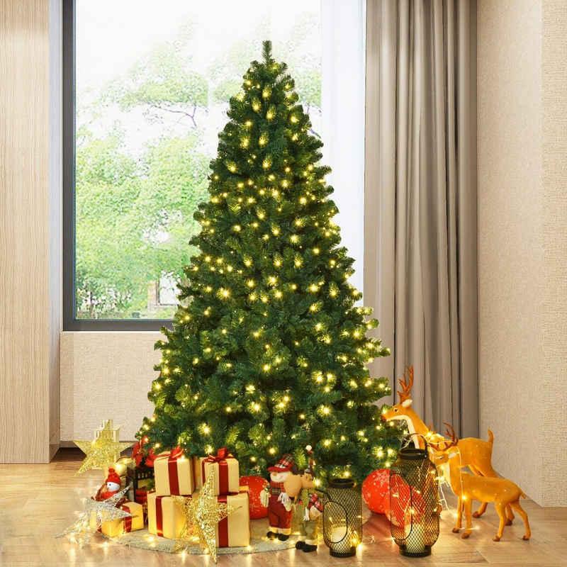 COSTWAY Künstlicher Weihnachtsbaum »Tannenbaum, Christbaum«, 225 cm, mit LED-Lichterketten und Metallständer, beleuchtet