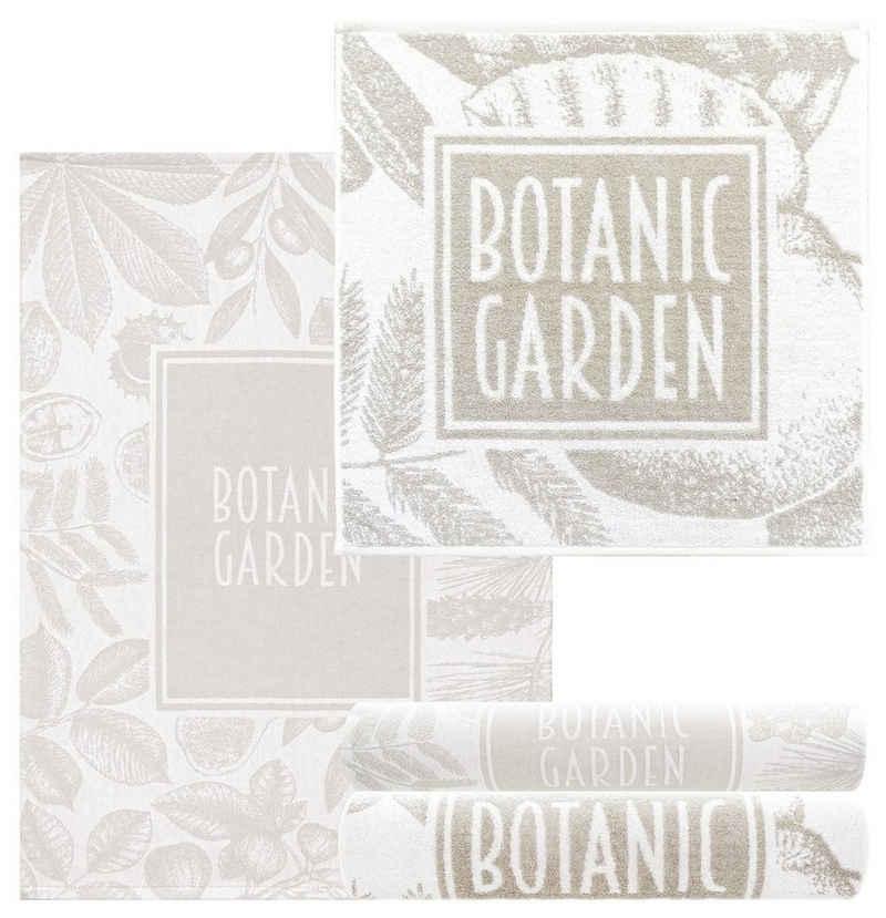 Lashuma Handtuch Set »Botanischer Garten« (4-tlg), Frottee Küchentücher 2x 50x50, Geschirrtücher 2x 50x70