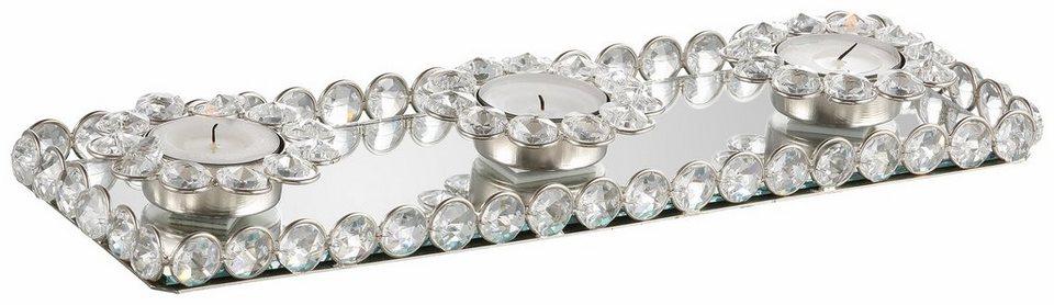 Premium collection by Home affaire Tablett mit Teelichthaltern »Kristall«