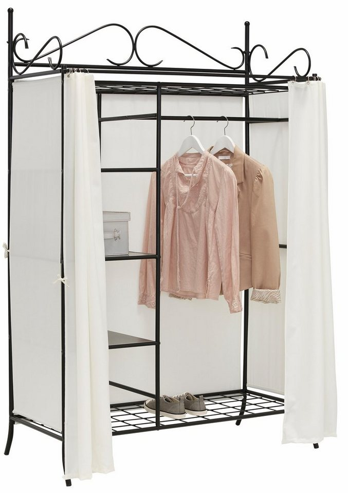 Home affaire Metallgarderobe mit Vorhang bespannt   Schlafzimmer > Kleiderschränke > Ordnungssysteme   Schwarz   Home affaire