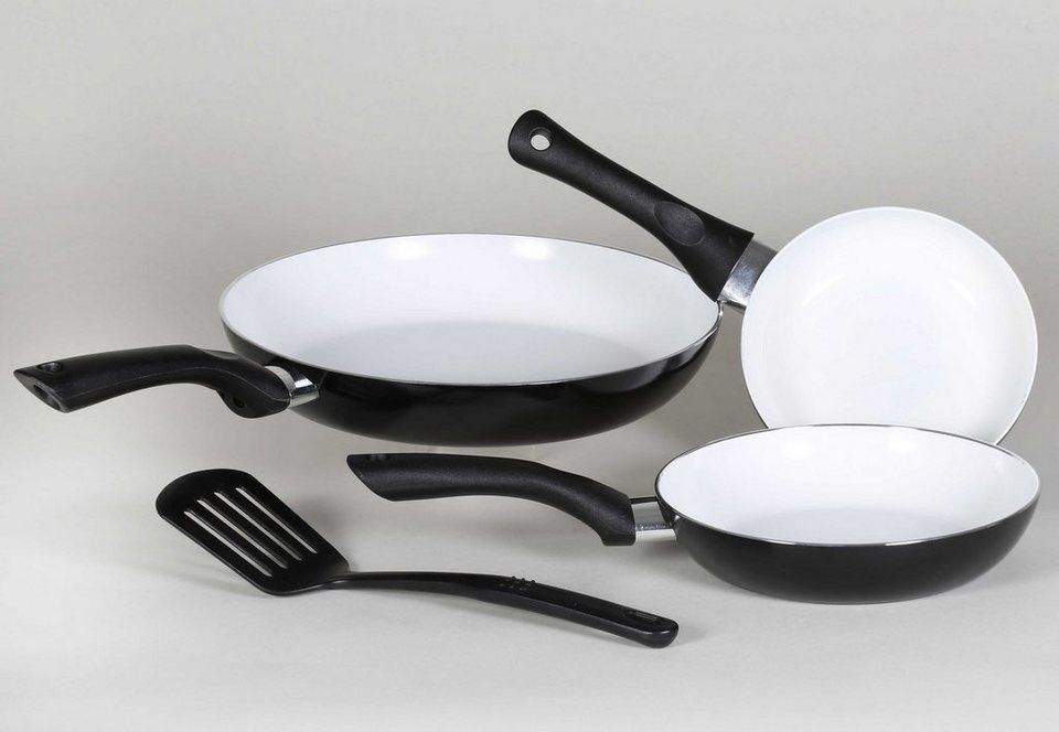 Krüger Pfannen-Set, Aluminium mit Keramikbeschichtung, »Riga« (4tlg.) in schwarz
