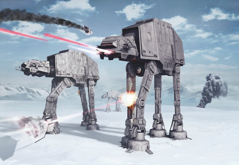 Papiertapete, Komar, »Star Wars Battle of Hoth«, 368/254 cm in grau/blau