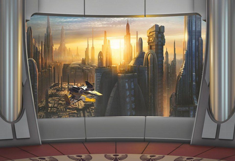 Papiertapete, Komar, »Star Wars Coruscant View«, 368/254 cm in grau