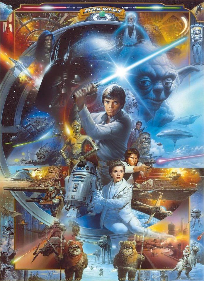 Papiertapete, Komar, »Star Wars Luke Skywalker Collage«, 184/254 cm in blau