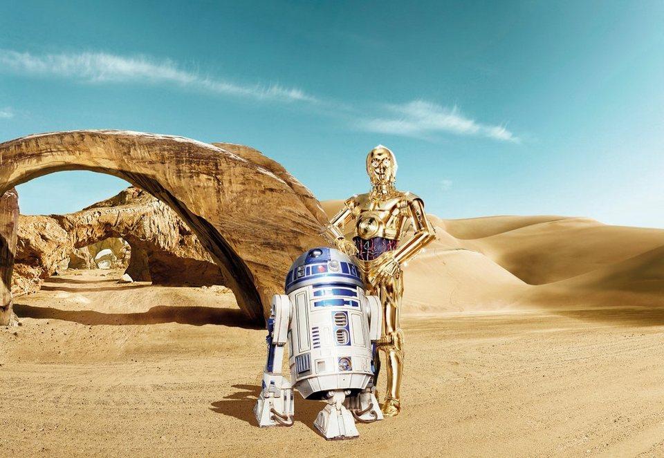 Papiertapete, Komar, »Star Wars Lost Droids«, 368/254 cm in beige/blau