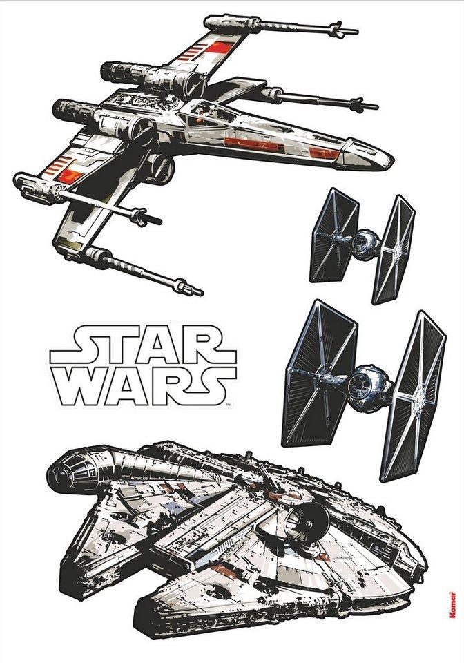 Wandsticker, Komar, »Star Wars Spaceships«, 70/100 cm in grau
