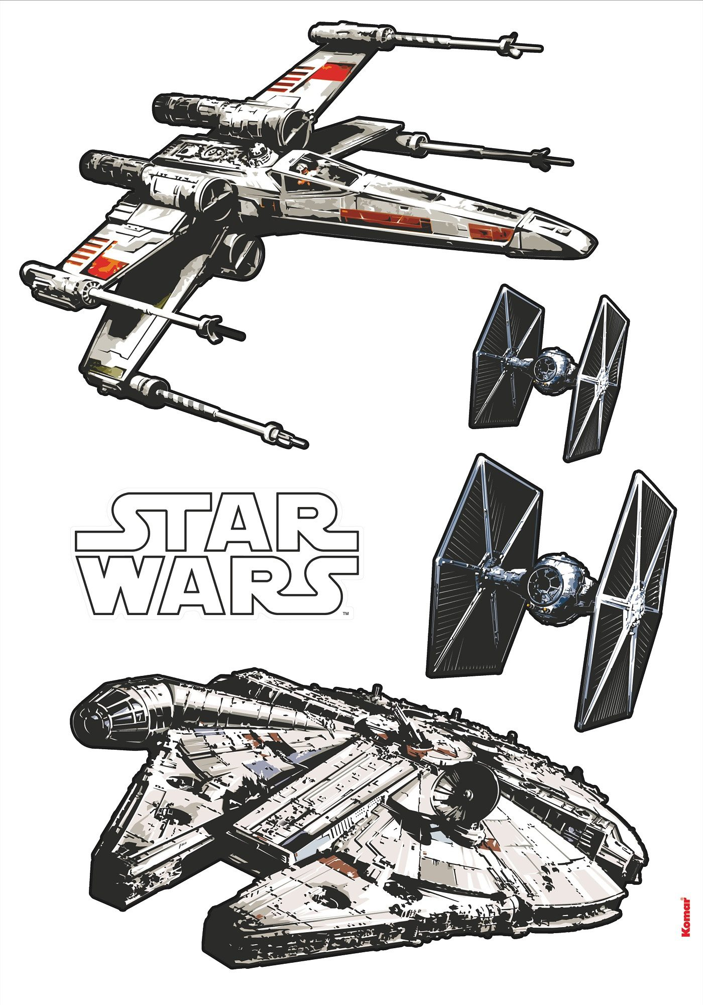 Wandsticker, Komar, »Star Wars Spaceships«, 70/100 cm