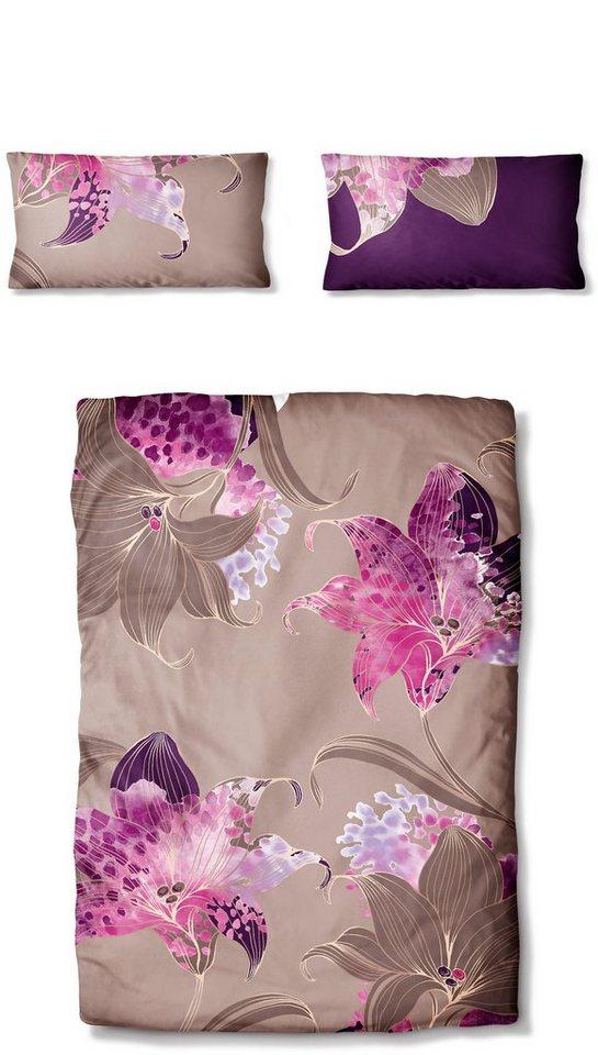 Bettwäsche, Auro Hometextile, »Solenzara«, mit großen Blumen in plum-natur