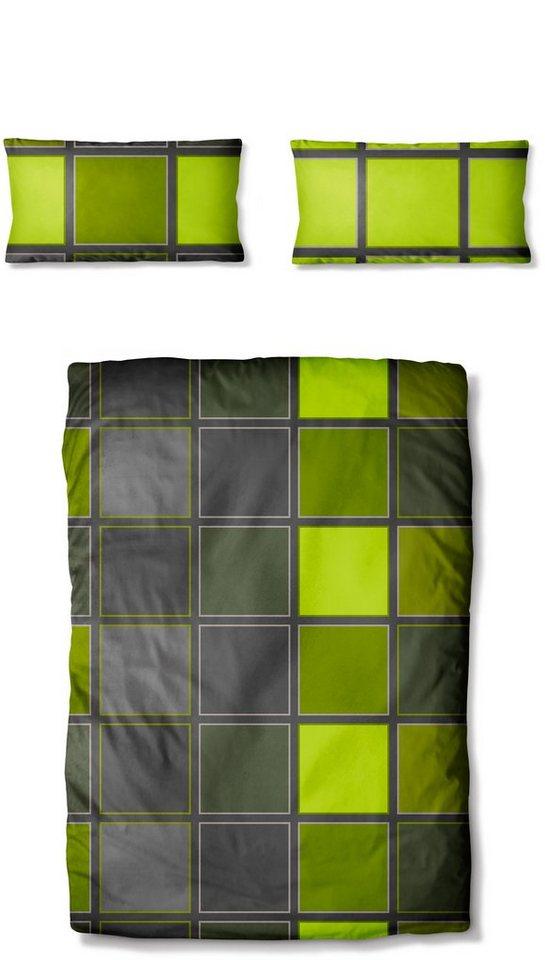 Bettwäsche, Auro Hometextile, »Metropol 2«, in Kacheloptik in grün