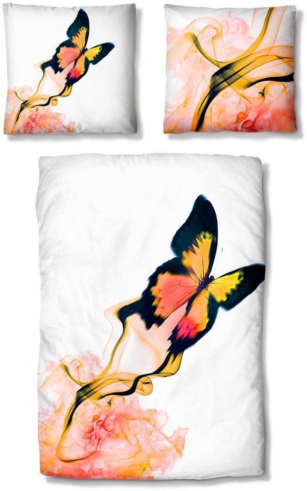 Bettwäsche, Auro Hometextile, »Schmetterling«, mit Motiv in rot-gelb