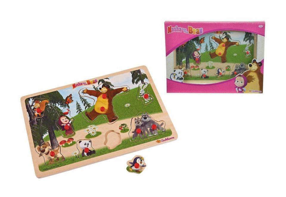 Eichhorn Puzzle aus Holz, »Masha und der Bär - Steckpuzzle«