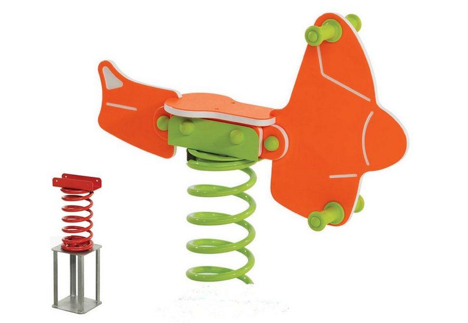 Woodinis-Spielplatz Federtier zum Einbetonieren, »Flugzeug Federwippe« in orange