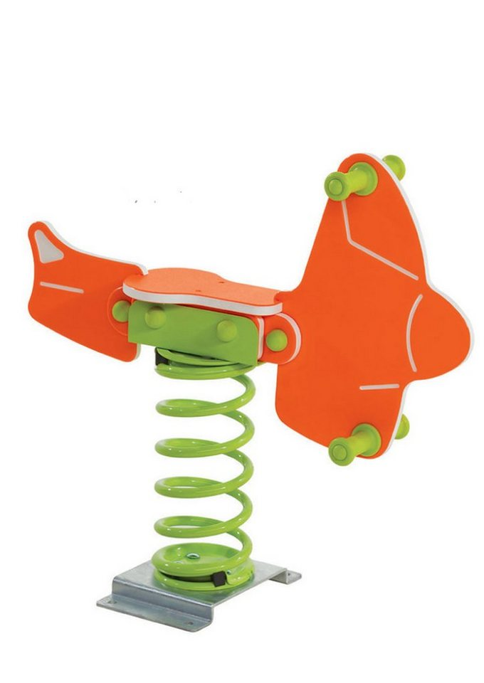 Woodinis-Spielplatz Federtier zum Aufdübeln, »Flugzeug Federwippe« in orange