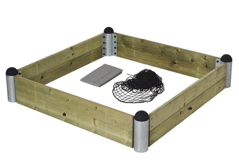 Sandkasten, quadratisch, »Sandkasten aus Holz mit Stahlecken« in natur