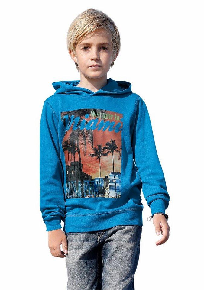 "Buffalo Kapuzensweatshirt ""MIAMI"" in blau"