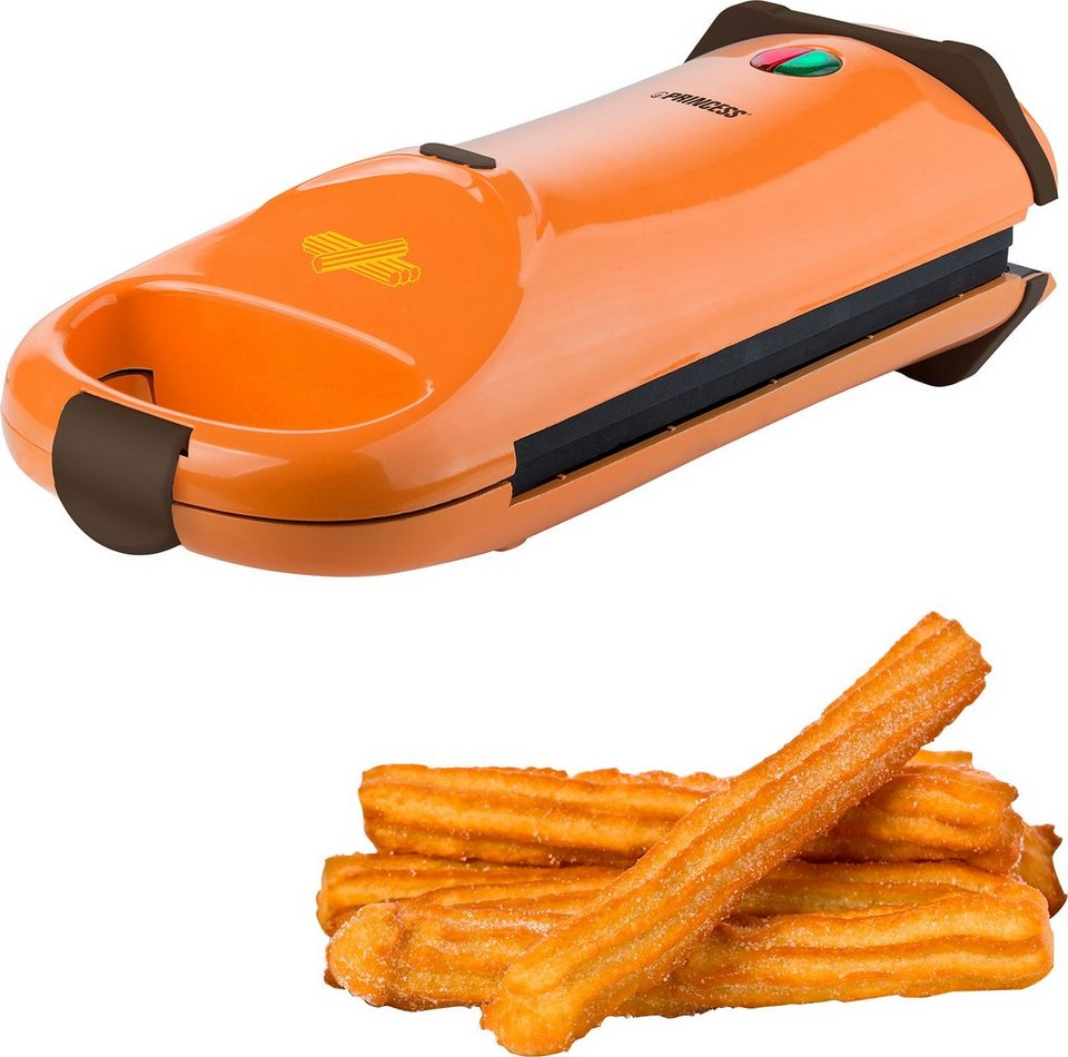Princess Waffeleisen Churros Cake Maker, 640-760 Watt in orange