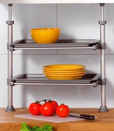 Küchen-Klemmregal in grau