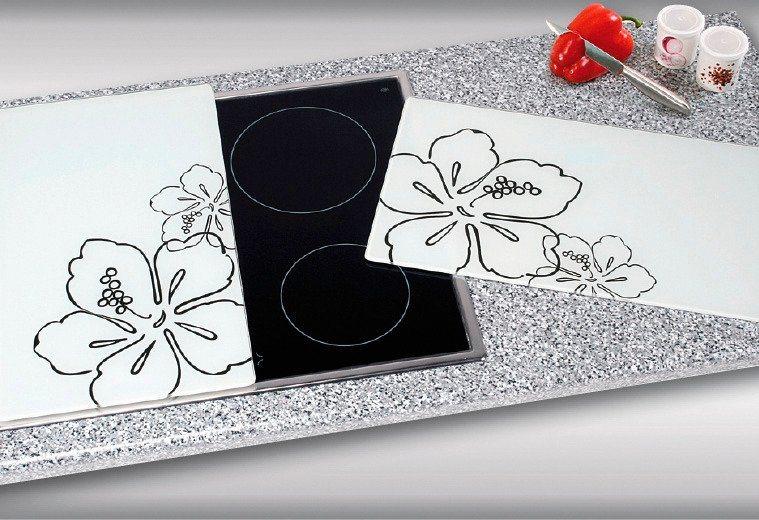 Herdabdeckplatten »Flora«, 2er-Set in weiß