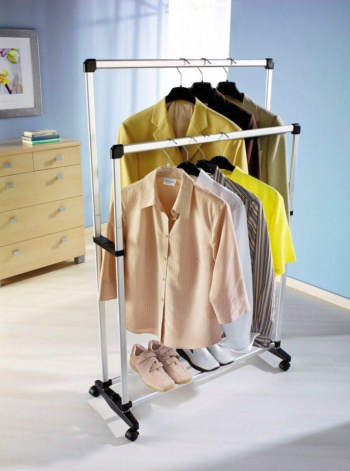 Kleiderständer mit 2 Stangen in silberfarben
