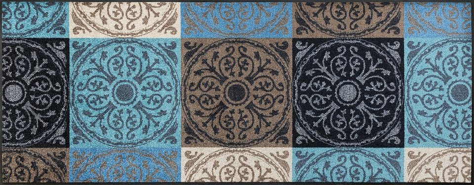 Läufer »Da Capo«, wash+dry by Kleen-Tex, rechteckig, Höhe 7 mm in braun-blau