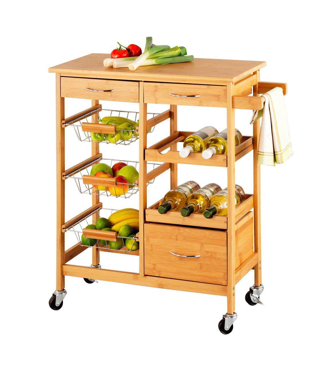 Küchenrollwagen Hochwertig ~ zeller rollwagen bamboo , 66x38x84 cm kaufen otto