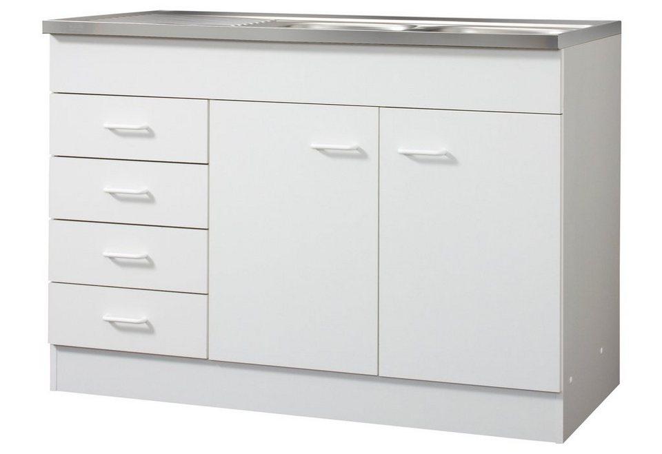 Spülenschrank, 2 Türen, 4 Schubkästen, B/T/H: 120/60/85 cm in weiß