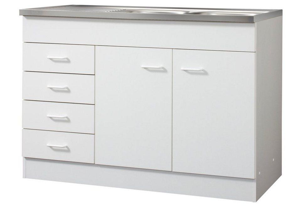 Spülenschrank, 2 Türen, 4 Schubkästen, B/T/H: 120/50/85 cm in weiß