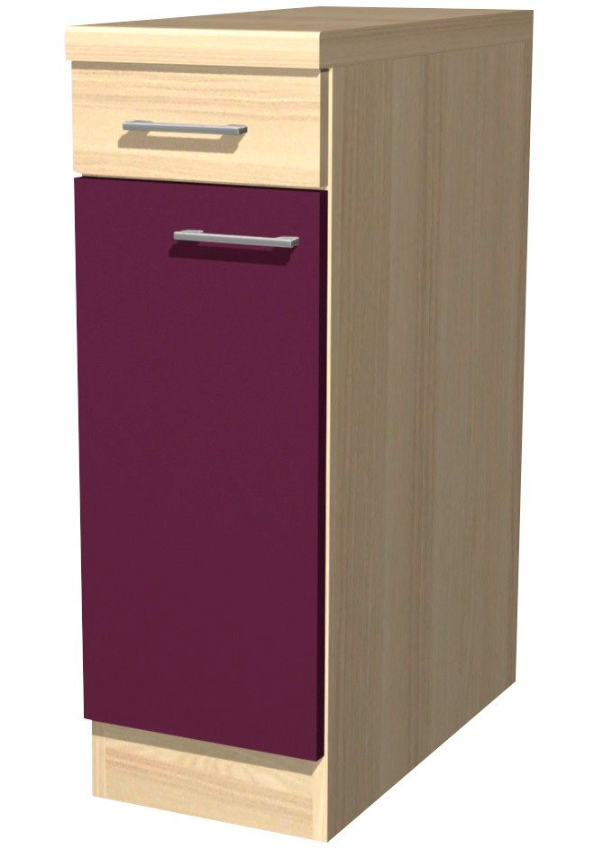 Küchenunterschrank »Portland«, Breite 30 cm in akaziefarben/auberginefarben