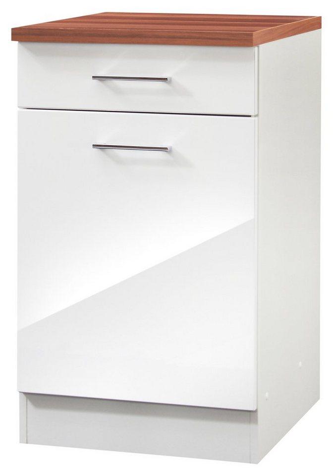 Küchenunterschrank »Monaco«, Breite 50 cm in weiß/nussbaumfarben