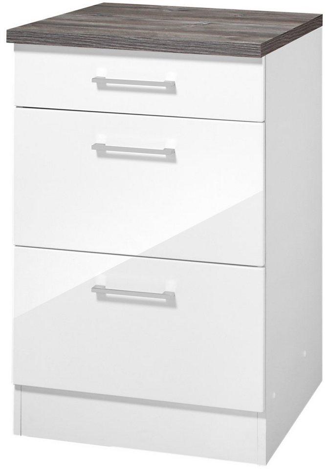 Küchenunterschrank »Philadelphia«, Breite 50 cm in weiß/eichefarben vintage