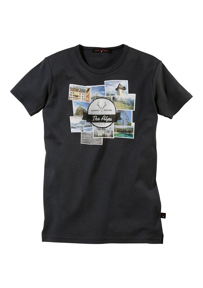 Herren Trachtenshirt mit Aufdruck, Country Line in anthrazit