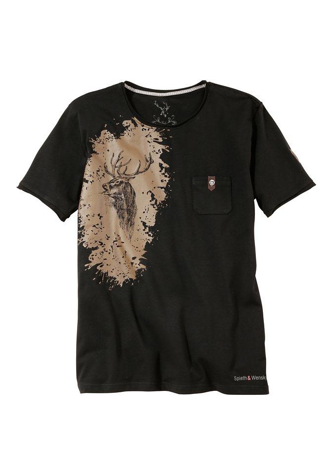 Herren Trachtenshirt mit Aufdruck, Spieth & Wensky in schwarz