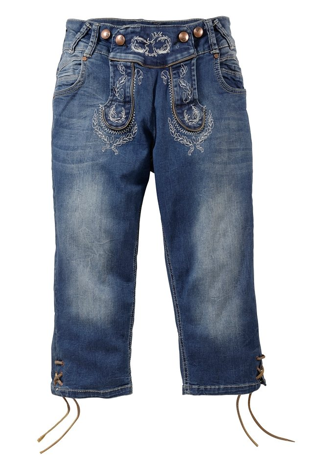 Trachtenjeans mit Schnürung am Bein, Marjo in jeansblau