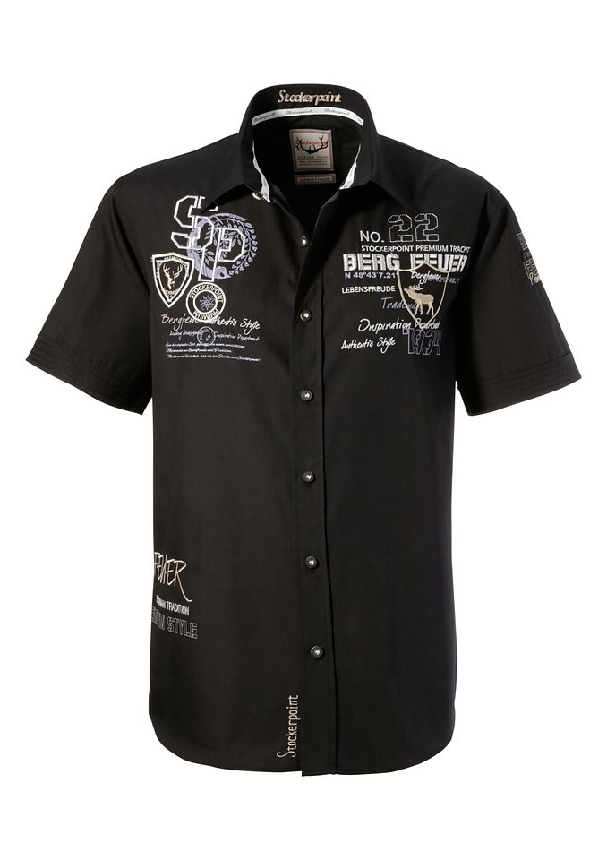 Trachtenhemd mit Stickerei, Stockerpoint in schwarz