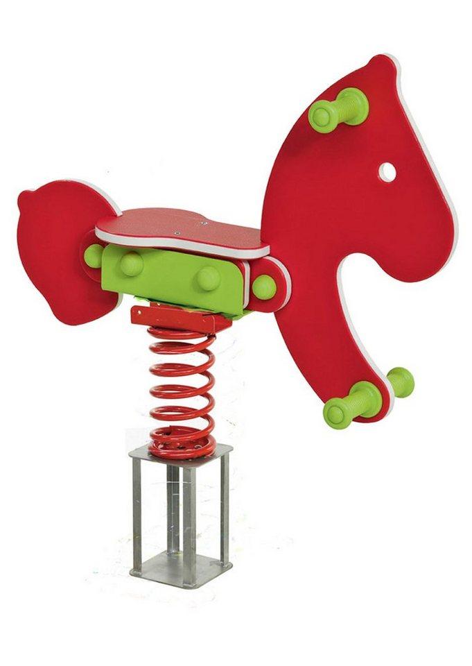 Woodinis-Spielplatz Federtier zum Einbetonieren, »Pferd Federwippe« in rot