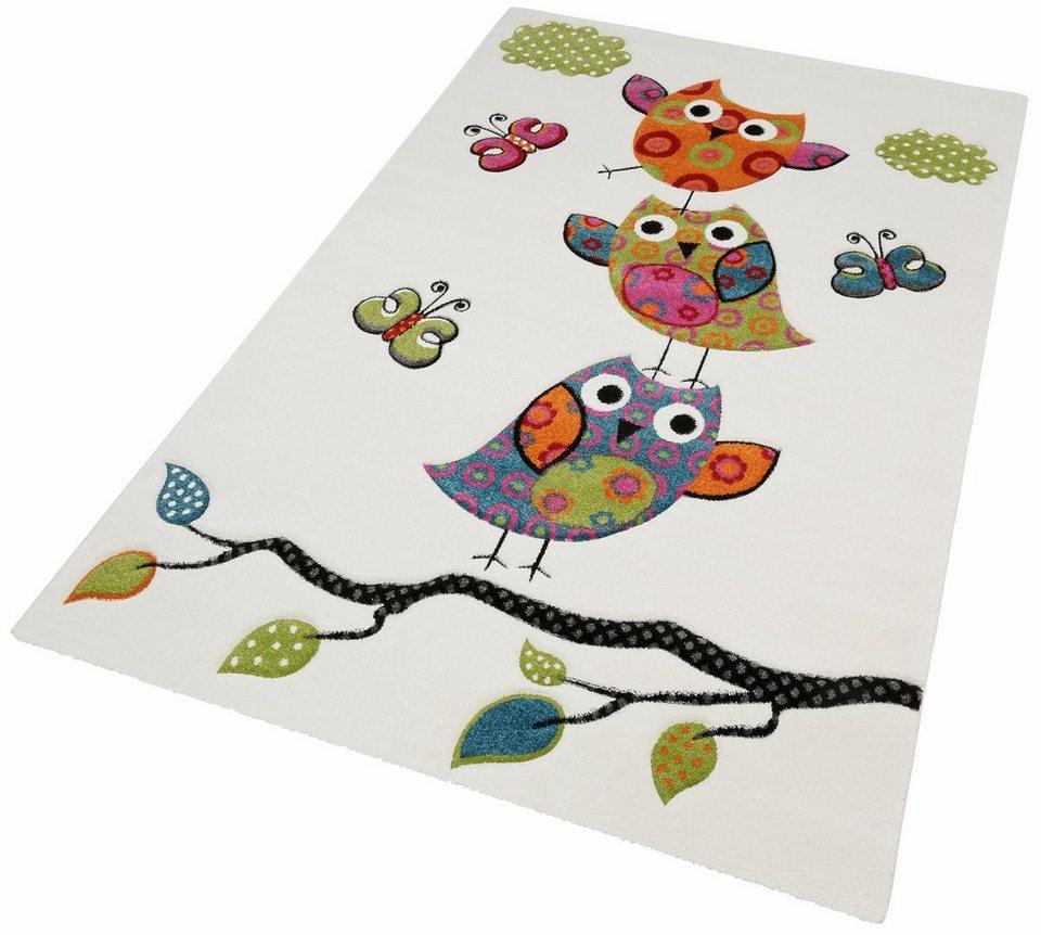Kinder-Teppich, Merinos, »GUADAIRA«, gewebt, handgearbeiteter Konturenschnitt in creme