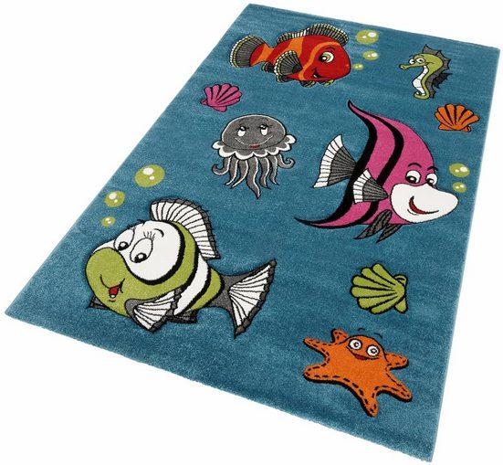 Kinderteppich »GERS«, merinos, rechteckig, Höhe 13 mm, bunte Fische, handgearbeiteter Konturenschnitt
