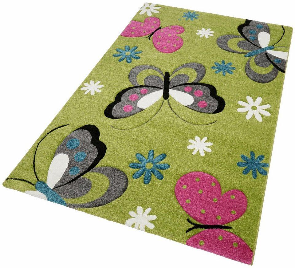 Kinder-Teppich, Merinos, »GARTEMPE«, gewebt, handgearbeiteter Konturenschnitt in grün